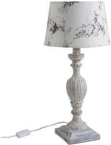 Aubry-Gaspard - lampe a poser bois et blanc - Lampe À Poser
