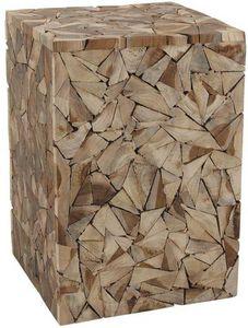 Aubry-Gaspard - tabouret cube bois scuplture - Tabouret