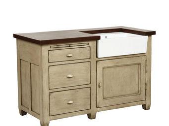 Interior's - meuble évier 1 porte 3 tiroirs + évier - Meuble Sous Évier