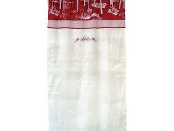 Interior's - rideau à nouettes blanc et rouge 140x250 - Rideau Occultant