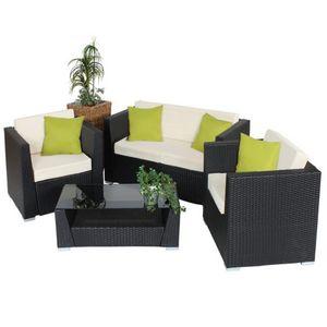 WHITE LABEL - salon de jardin rotin noir + table - Salon De Jardin