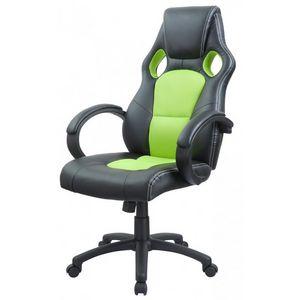 WHITE LABEL - fauteuil de bureau sport cuir vert - Fauteuil De Bureau