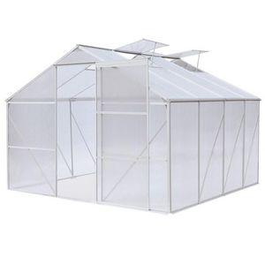 WHITE LABEL - serre polycarbonate 370 x 190 cm 7 m2 - Serre