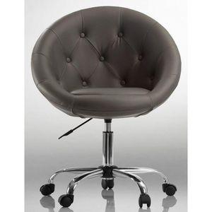 WHITE LABEL - fauteuil lounge pivotant cuir marron - Fauteuil Rotatif