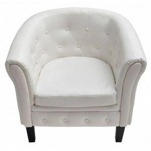 WHITE LABEL - fauteuil relax capitonné similicuir blanc - Fauteuil