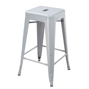 WHITE LABEL - lot de 2 tabourets de bar factory gris argenté - Tabouret De Bar