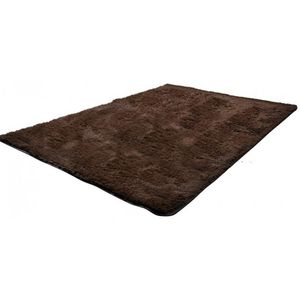 WHITE LABEL - tapis salon marron poil long taille m - Tapis Contemporain