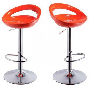 WHITE LABEL - lot de 2 tabourets de bar orange - Chaise Haute De Bar