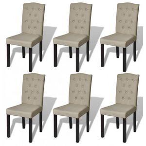 WHITE LABEL - 6 chaises de salle a manger beiges - Chaise