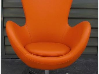 Mathi Design - fauteuil cocoon aspect cuir - Fauteuil Rotatif
