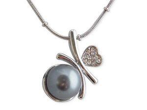 WHITE LABEL - tour de cou argenté pendentif sphère grise nacrée  - Collier