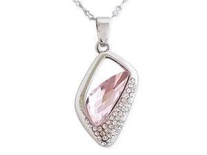 WHITE LABEL - collier pendentif losange avec strass et pierre ro - Collier