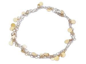 WHITE LABEL - bracelet 2 en 1, chaine argentée et palets dorés b - Collier