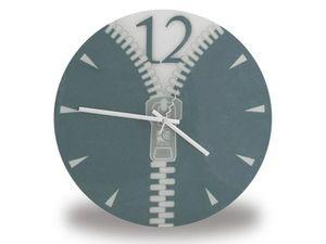 WHITE LABEL - horloge avec motif zip grise deco maison design in - Horloge Murale