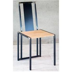 Mathi Design - chaise bois et acier brut - Chaise
