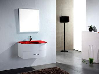 UsiRama.com - meuble salle de bain ecochic vasque en verre rouge - Meuble Vasque