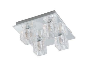 Eglo - plafonnier carré quarto 1 inoxydable - Plafonnier