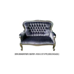 DECO PRIVE - banquette baroque modele grandfather tissu gris et - Canapé 2 Places