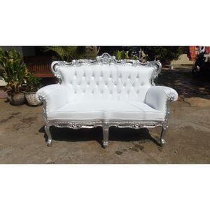 DECO PRIVE - sofa baroque blanc et bois argenté french sofa - Canapé 2 Places