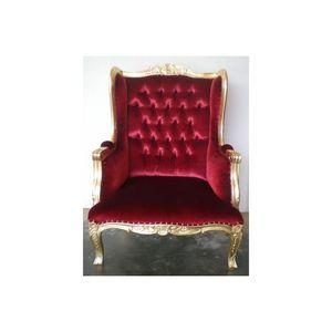 DECO PRIVE - fauteuil à oreilles doré et velours rouge capitonn - Fauteuil