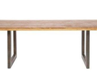 WHITE LABEL - loft table de repas bois pietement metal design - Table De Repas Rectangulaire