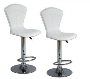 WHITE LABEL - lot de 2 tabourets de bar beautiful blanc - Chaise Haute De Bar
