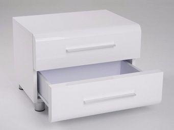 WHITE LABEL - chevet 2 tiroirs sakura blanc brillant - Table De Chevet