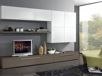 WHITE LABEL - composition murale tv design primavera noyer - Meuble Tv Hi Fi