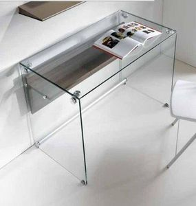 WHITE LABEL - bureau charli design en verre avec une étagère en  - Bureau