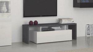 WHITE LABEL - meuble design tv treviso 2 blanc - Meuble Tv Hi Fi