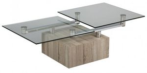 WHITE LABEL - table basse tree en verre transparent plateaux piv - Table Basse Forme Originale