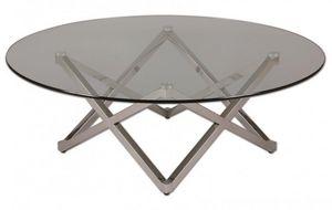 WHITE LABEL - table basse beryl en verre - Table Basse Ronde