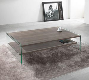 WHITE LABEL - table basse rectangle bella 2 plateaux noyer avec - Table Basse Rectangulaire