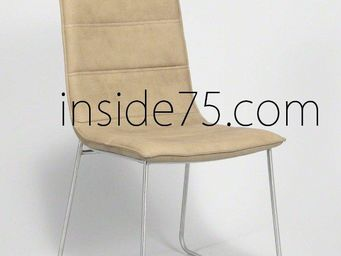 WHITE LABEL - chaises design dodge façon cuir sable piétement mé - Chaise