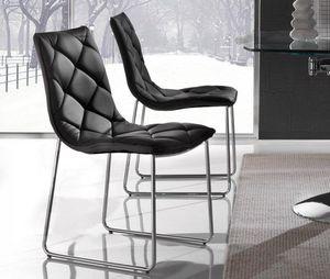 WHITE LABEL - lot de 2 chaises toscane en simili cuir noir piéte - Chaise