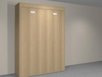 WHITE LABEL - armoire lit verticale agata chêne couchage 140*190 - Lit Escamotable