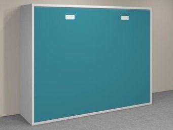 WHITE LABEL - armoire lit transversale agata chene couchage 140* - Lit Escamotable