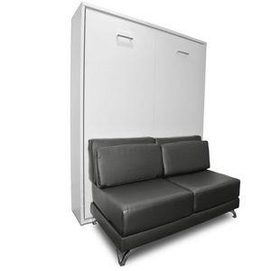 WHITE LABEL - armoire lit escamotable town canapé gris graphite  - Lit Escamotable