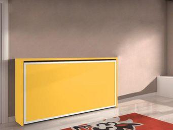 WHITE LABEL - armoire lit transversale city, jaune encadrement b - Lit Escamotable