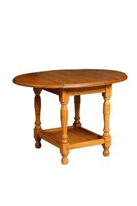 WHITE LABEL - table basse pliante carla en chêne - Table Basse Ronde