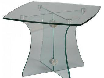 WHITE LABEL - bout de canapé carré onyx en verre - Bout De Canapé
