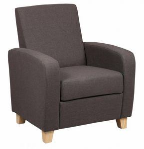 WHITE LABEL - petit fauteuil seated tissu marron - Fauteuil