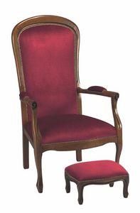 WHITE LABEL - fauteuil voltaire merisier et velours bordeaux - Fauteuil