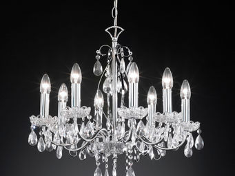 WHITE LABEL - lustre design cristal � 8 lumi�res - Lustre
