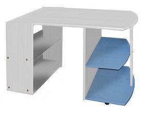 WHITE LABEL - bureau enfant en pin massif coloris blanc lasure  - Bureau Enfant