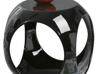 WHITE LABEL - table d?appoint en forme cube design colois noir - Table D'appoint