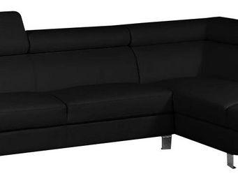 WHITE LABEL - canapé angle droit ultra design coloris noir - Canapé Modulable