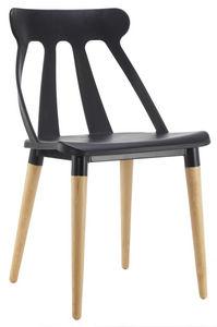 COMFORIUM - chaise design coloris noir et bois - Chaise