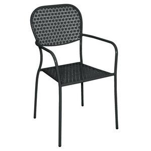 COMFORIUM - lot de 4 chaises en acier avec accoudoirs de color - Chaise De Jardin