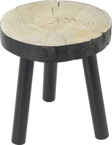 Amadeus - tabouret bas bois noir tronc - Tabouret